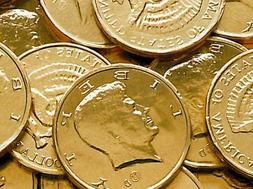 50 Pieces Gold Foil Wrapped Chocolate Kennedy Half Dollar Co