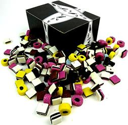Cuckoo Luckoo Licorice Allsorts, 2 lb Bag in a BlackTie Box