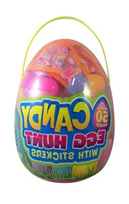 Giant Egg Hunt Candy Filled Easter Egg Container with Sticke
