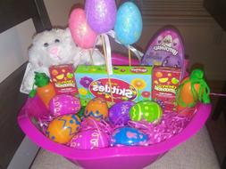 Pink Girls Easter Basket with Candy & Toys.