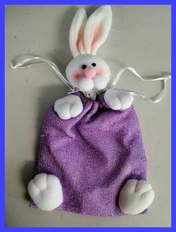 Easter Bunny Purple Sparkly Candy Gift Knit Drawstring Bag