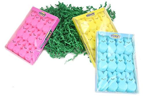 Well Box Marshmallow Peep 5 Color Bunny Packs And Easter Grass