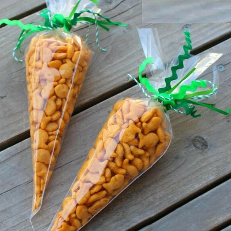 Kids Carrot Candy Cone Bags Easter Gift Bags Plastic Party D
