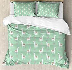 Ambesonne Llama Duvet Cover Set Queen Size, Cute llama with