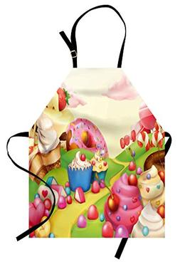Lunarable Pink Apron, Food Theme Sweet Tasty Landscape of Ca
