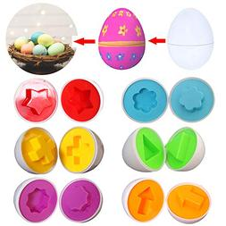 6 Pack Matching Shapes And Colors Eggs Toys For Toddlers, Ea