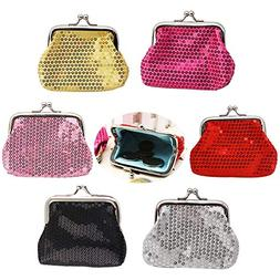 Sparkly Coin Purses, Set of 6 Cute Change Wallets, Attractiv